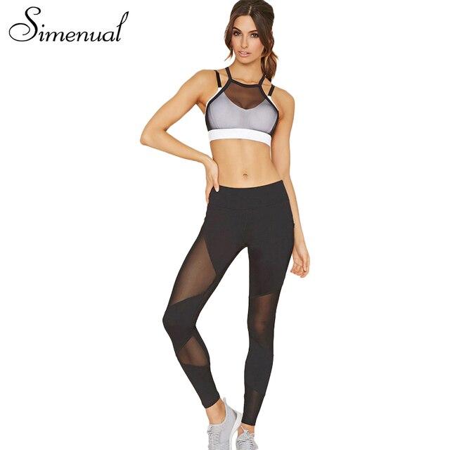 Simenual 2017 Summer camis bra leggings tracksuit women mesh patchwork sexy fitness women's tarcksuits 2PCS sportsuit athleisure