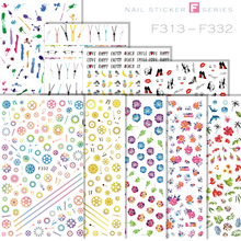 1 Sheet Nail Art Decorations Stickers Fruit Series Watermelon Banana Lace Pattern Colorful Music Note Sticker