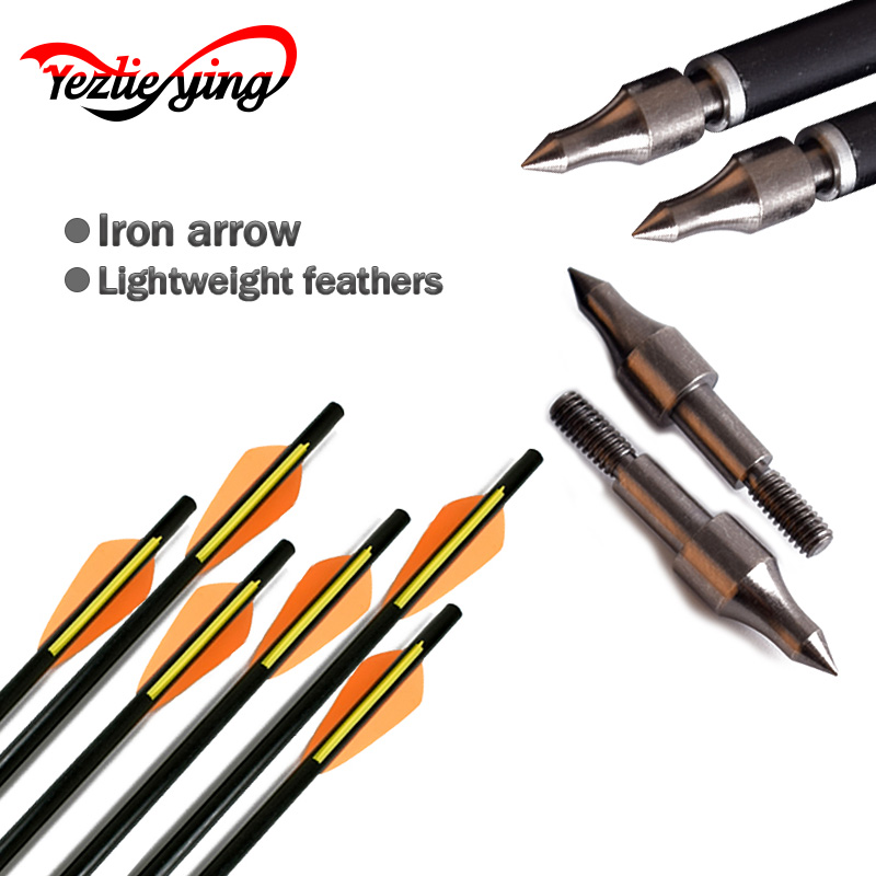 24Pcs Target Fiberglass Arrow 16/18/20 Inches Spine 400 Orange yellow Feather for Crossbow Archery Hunting Shooting