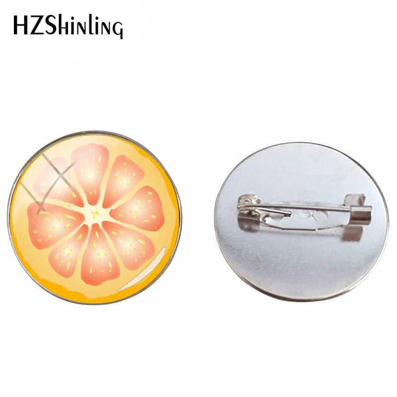 Baru Fashion Lemon Slice Keren Musim Panas Broonch Pin Kubah Kaca Merah Oranye Buah Segar Perhiasan Pin untuk Pria dan Wanita aksesoris