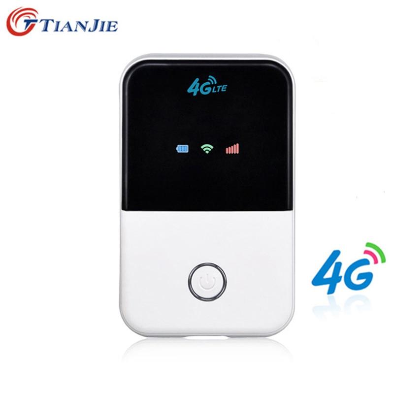 TIANJIE 4G Wifi Router mini router 3G 4G Lte inalámbrico portátil de bolsillo de wi-fi de acceso móvil de coche wi-fi Router con ranura para tarjeta Sim