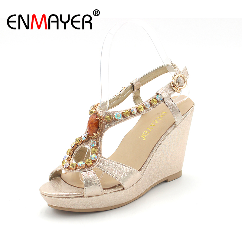 ENMAYER New High Heels Sandals Women Wedges Platform Shoes Solid Casual Rhinestone Sandals Summer Shoes Woman Gladiator Sandals 2017 summer women shoes platform wedges sandals high heels woman casual shoes fashion hemp rope rivet punk roman gladiator shoes