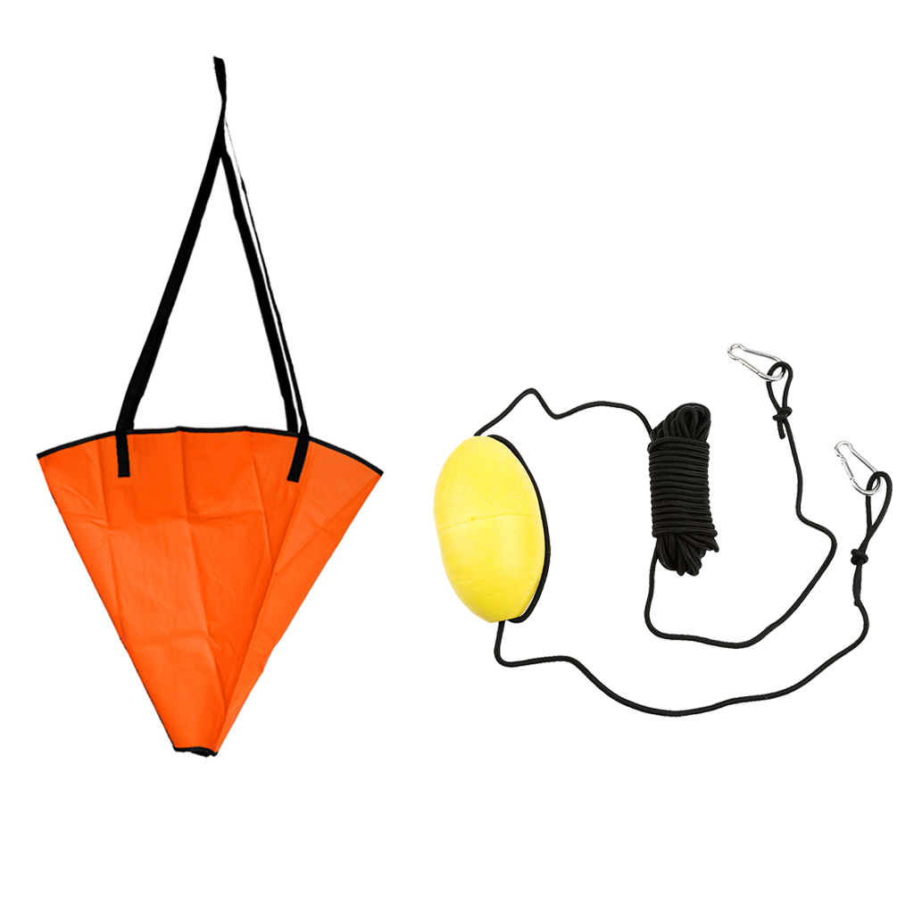 30ft PVC Kayak Drift Anchor Tow Rope Tow Line Throw Line + 18' Sea Anchor Drogue for Canoe Fishing Inflatbale Boat Dinghy Yacht