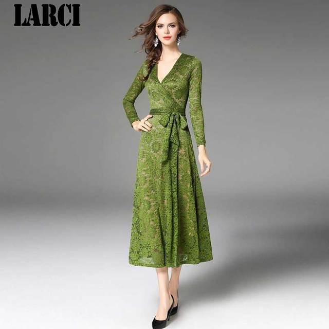 fdfeadb0825 LARCI 2018 Women casual loose Elegant dress Plus size dresses Large sizes  high waist crew neck lace embroidery dress N9441