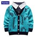 2016 Otoño Nueva Moda Muchachos Suéter 3 Colores de Punto Chaqueta de Punto Para Niños de Un Solo Pecho Niños chaquetas de Punto Para Niños