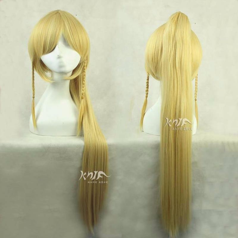 Kirigaya Suguha 100cm Gold Long Styling Anime Cosplay Costume Wig Chip Ponytails + Wig Cap