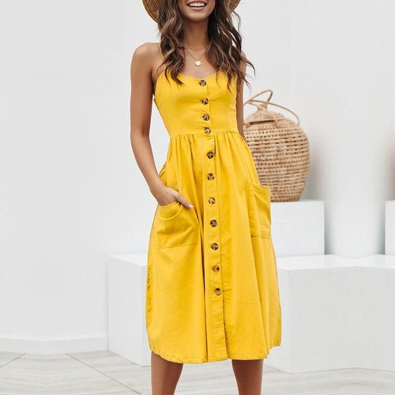 Verão Do Vintage 100% algodão sexy vestido longo Mulheres 2019 botão Doce vestido de praia maxi vestido suspender Vestidos de bolso feminino