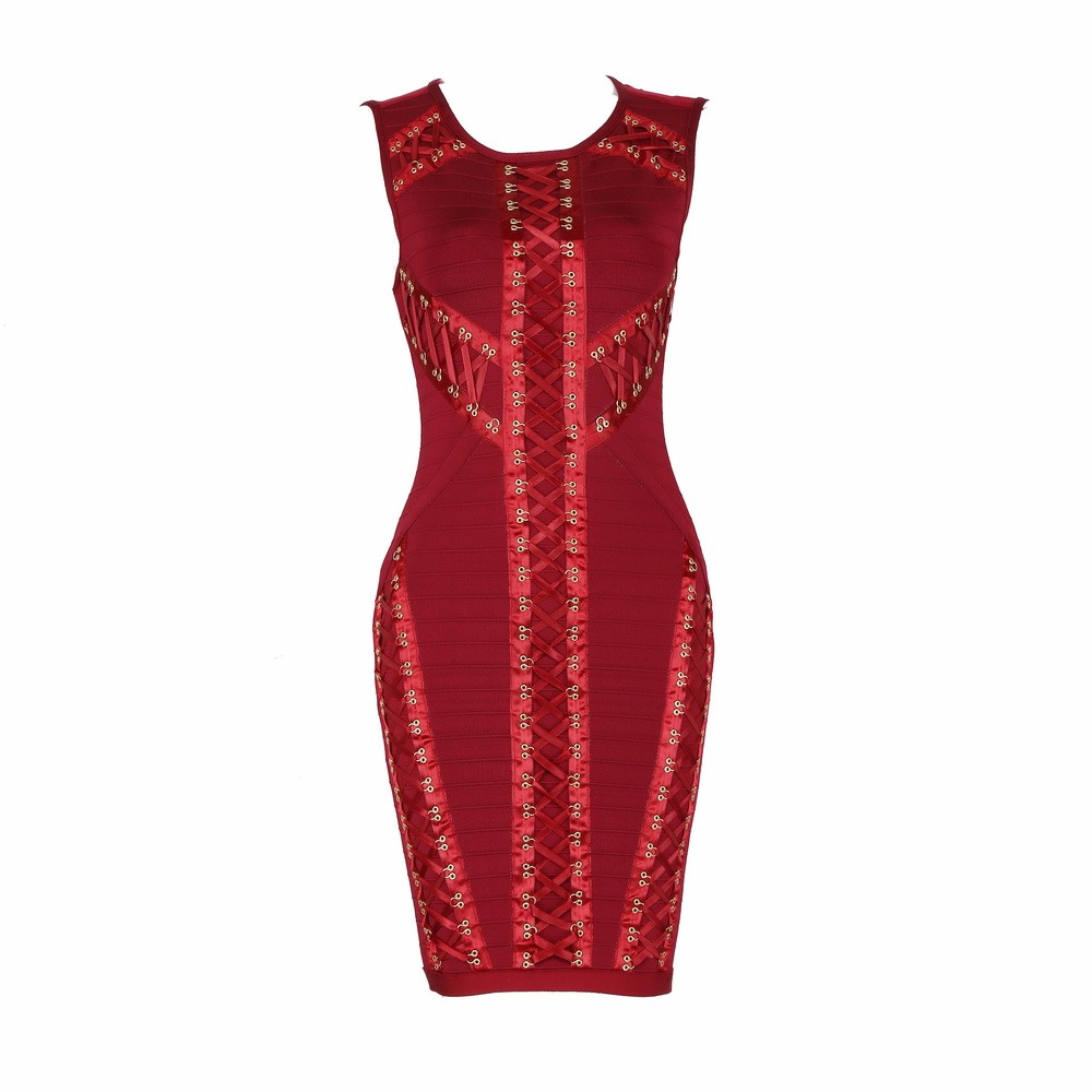 Dependable Top Quality Red Long Sleeve Weaving Rayon Bandage Dress Celebrity Party Dress Dresses