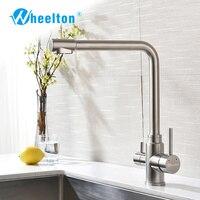 Wheelton Кухня кран Нержавеющаясталь гибкой проволочной щеткой 360 Поворотный 3 ходовой с фильтром распыления воды (опрыскиватель) смеситель