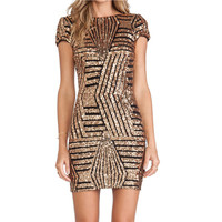 Europe Back Cut Out Elegant Night Club Gold Sequin Package Hip Bodycon Dress Women BLM4357