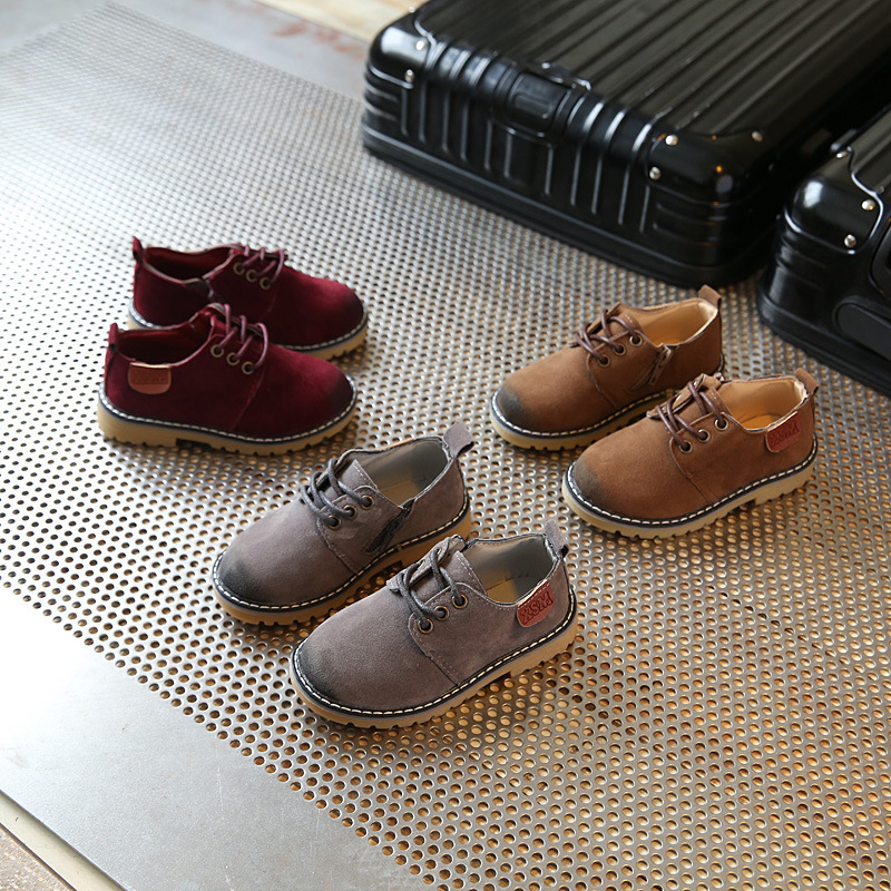 Spring section 2018 male and female children leather face retro casual wear bulk shoes brown princess shoes kids leather school