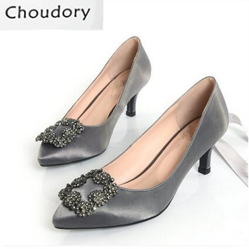 Choudory Thin Heels Genuine Leather Ankle Strap Pointed Toe Fashion Women Pumps Crystal Shallow Party Slip-On Comfortable Shoes