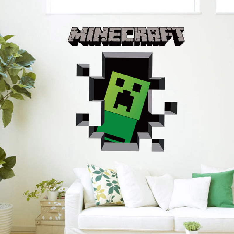 Minecraft 3d wall art sticker decal mural for 3d room decoration game