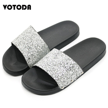 New Women Summer Home Slippers Flip Flops Fashion Sequins Shoes Peep Toe Sandals Casual Beach Slides Glitter Shoes Flat Sandals
