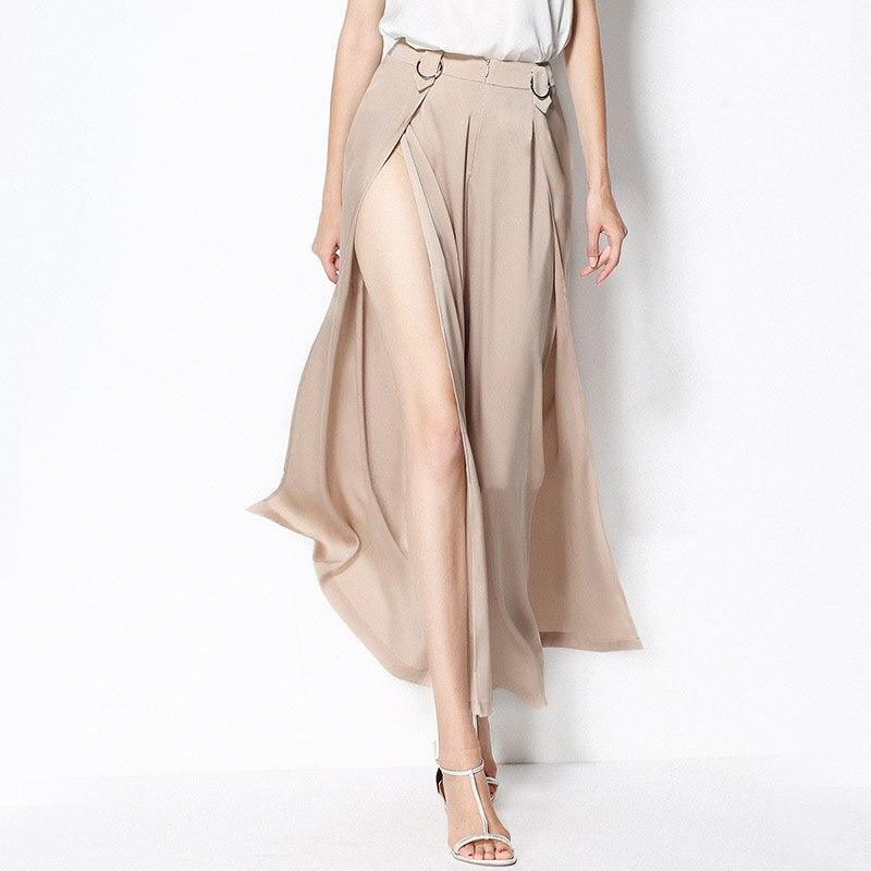 Женские брюки с широкими штанинами, 92% шелк, ткань с высоким разрезом, однотонный, уличный стиль, элегантный простой дизайн, на молнии, новая