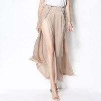 Широкие брюки Для женщин 92% шелк Ткань высокое Разделение Solid High Street пикантные Стиль Элегантные Простые Дизайн молния новая мода 2018