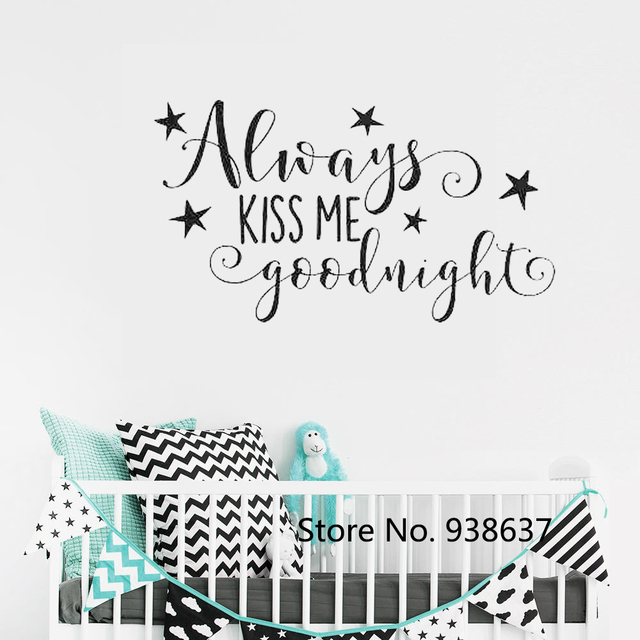 Always Kiss Me Goodnight Wall Art Stickers Quote Removable Kids Wall Decal  Home Decor Bedroom Star