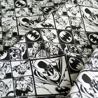 90x140cm Lots 1 Yard Black And White Batman And Joker Printed Comic Polyester Cotton Canvas Fabric