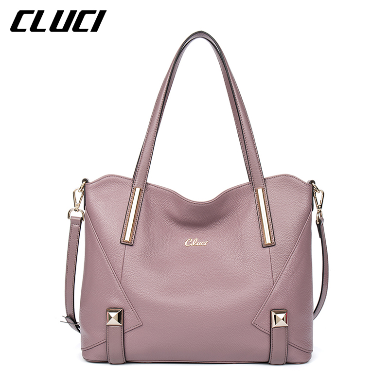 CLUCI Women's Handbags Genuine Leather Fashion Blue/Black/Red/Green/Brown/Purple