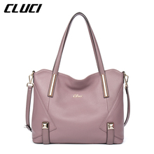CLUCI Women's Handbags Genuine Leather Fashion Blue/Black/Red/Green/Brown/Purple Top-handle Bags Luxury Soft Women Shoulder Bags