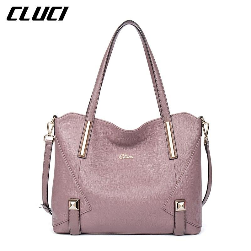 CLUCI Women s font b Handbags b font Genuine font b Leather b font Fashion Blue