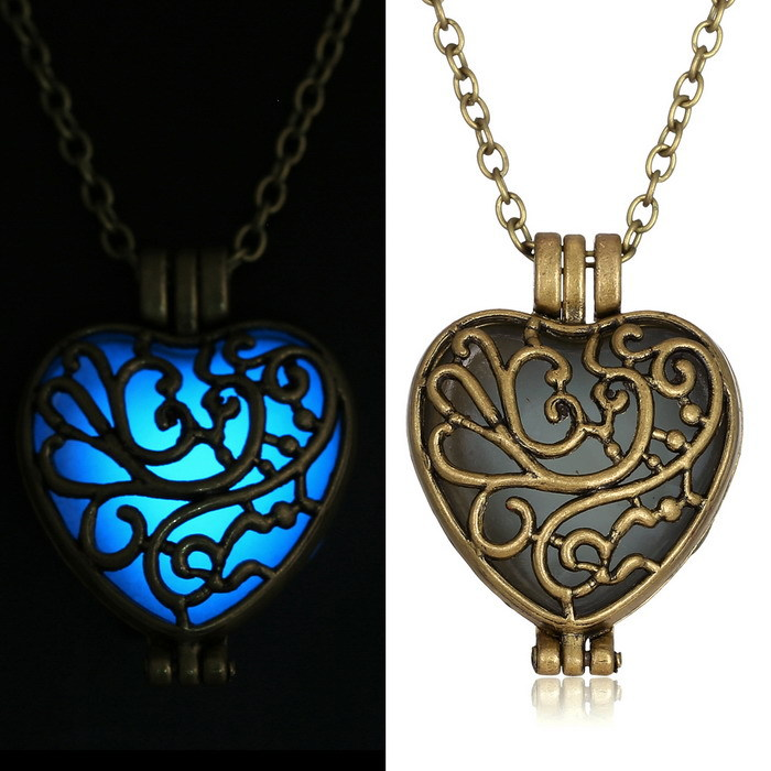 New Glow In The Dark Locket Gold Hollow Glowing Stone Pendant font b necklace b font