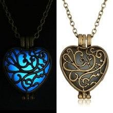 New Glow In The Dark Locket Gold Hollow Glowing Stone Pendant necklace Heart Shape Statement Choker Pendants Necklace For Women
