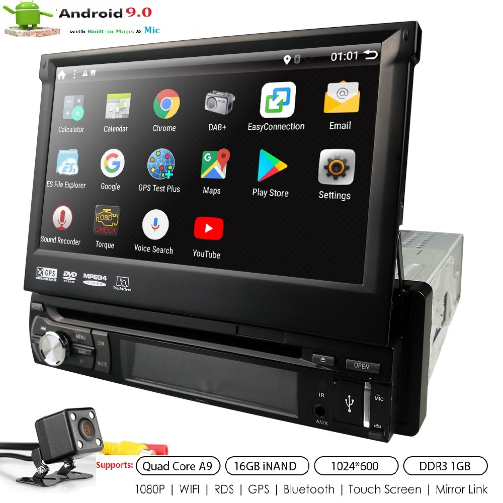 Universal 1 din Android 9.0 Quad Core Car DVD player GPS Wifi BT Radio 1GB RAM 16GB ROM16GB 4G SIM Network SWC RDS DAB MIC SD CDUniversal 1 din Android 9.0 Quad Core Car DVD player GPS Wifi BT Radio 1GB RAM 16GB ROM16GB 4G SIM Network SWC RDS DAB MIC SD CD