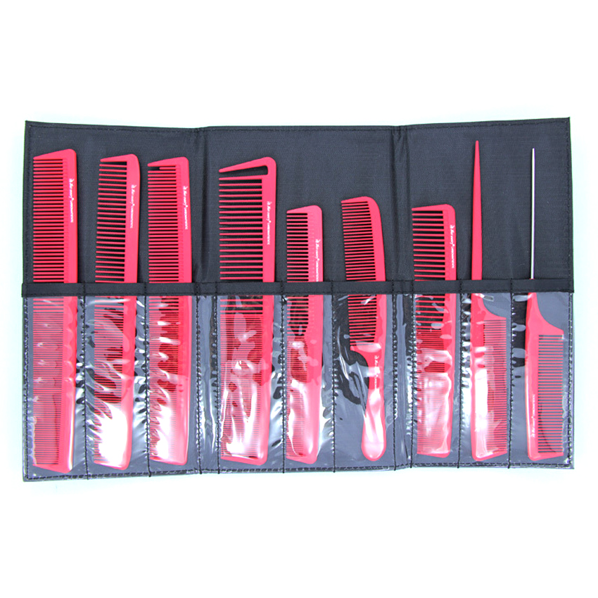 Barber Use Hair Cutting Comb Set , Hairstylist Carbon Comb For Professional Salon With A Bag 9 Pcs Anti-static Carbon Comb