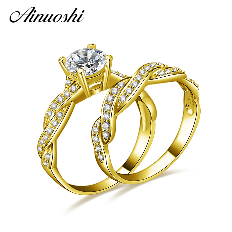 AINUOSHI 10k Solid Yellow Gold Wedding Ring Sets 1 ct Simulated Diamond Luxury Twisted Anel de ouro Women Engagement Rings Set ainuoshi 10k solid yellow gold wedding ring 2 ct round cut simulated diamond anel de ouro female wedding rings for women gifts