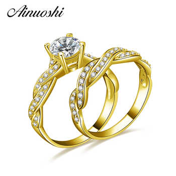 AINUOSHI 14K Solid Yellow Gold Wedding Ring Sets 1 ct Simulated Diamond Luxury Twisted Anel de ouro Women Engagement Rings Set - DISCOUNT ITEM  42% OFF All Category