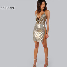 COLROVIE Metallic Plunge Cowl Party Dress Gold Sexy Slit Backless Women Summer Dresses 2017 Mini Bodycon Draped Slim Club Dress