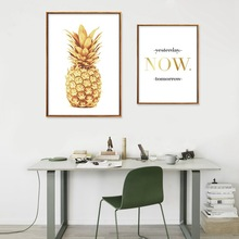 Golden Pineapple Wall Art Canvas Posters Prints Motivational Painting Quote Marble Decorative Pictures for Living Room