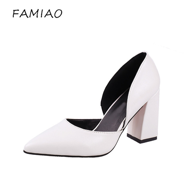 310000a14684 FAMIAO 2018 Women Pumps Ankle Strap Thick Heel Women Shoes Square Toe Mid  Heels Dress Work Pumps Comfortable Ladies Shoes