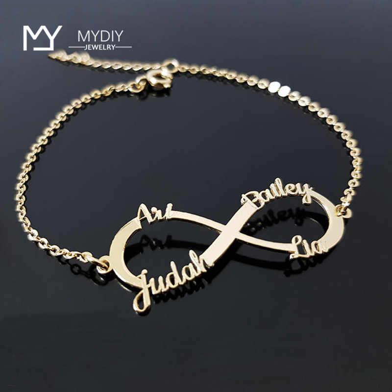 Personalized Name Bracelet  Customized Nameplate Bracelets For Couple 925 Sterling Silver Jewelry Infinite Loop Bracelet