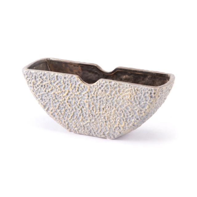 Ceramic Arcadia Bowl Vase, In Gray And Golden