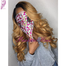 Black to blonde ombre synthetic lace front wig body wave heat resistant synthetic lace front wig for black women free shipping