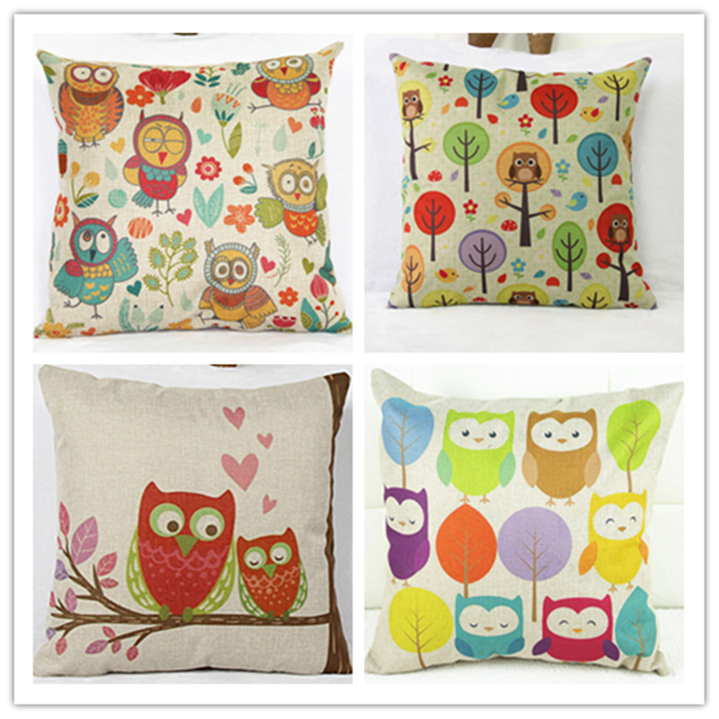 Contracted and Cushion for Leaning on of Cartoon cute owl Pillow Cotton Pillowcases Office Sofa Square Pillows