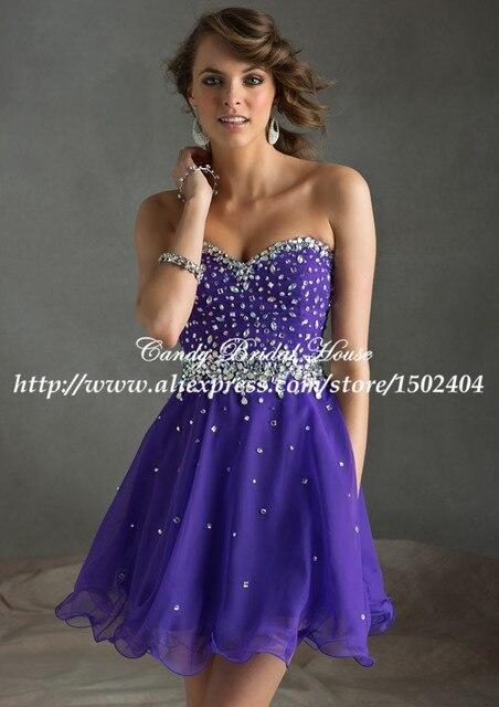 Fashionable Sweetheart Royal Purple Prom Dress Short A Line Chiffon ...
