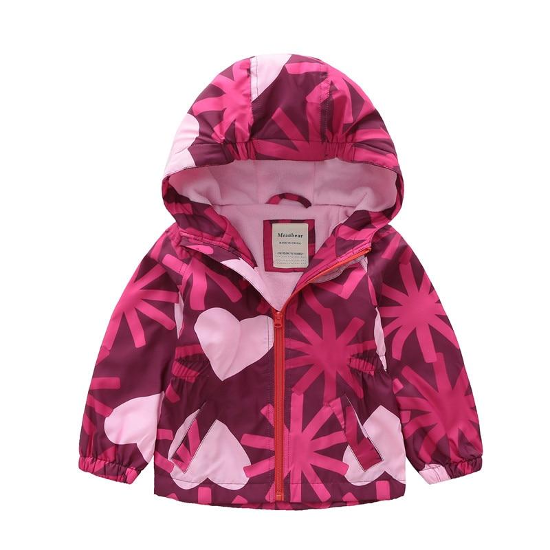 Girls plus velvet jacket large children's hooded windbreaker waterproof warm jacket 2018 autumn children's wea