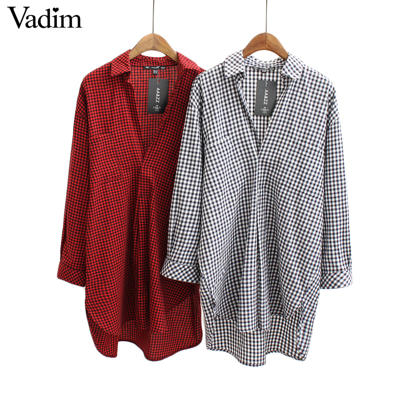 Women v neck small plaid long shirt dress oversized long for Oversized plaid shirt womens
