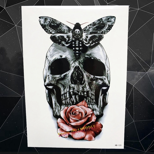 Cool butterfly henna death evil skull head temporary tattoo sexy women makeup roses pattern ahb