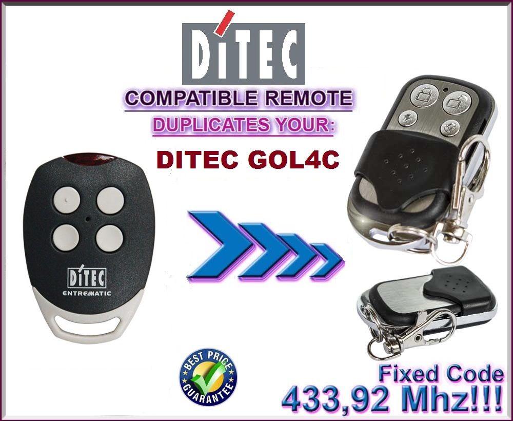 DITEC GOL4C Substituição, controle remoto compatível com o transmissor, clone 433.92 MHz