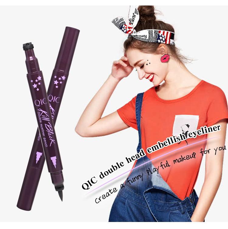 QIC Brand DIY Eyeliner Pencil With Star Moon Flower Stamp Eye Makeup Black Liner Pen Eyes Beauty Cosmetic Tool Make Up Pens In From