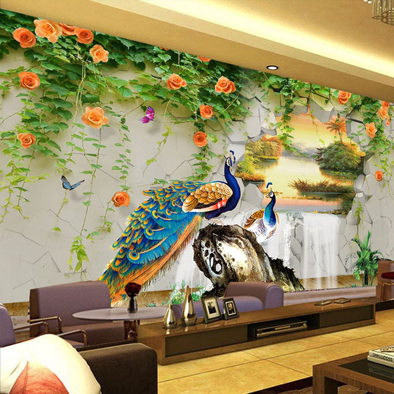 Custom Photo Wallpaper 3D Stereo Peacock Pastoral Wall Painting Living Room TV Sofa Classic Background Wall Mural Papel Tapiz 3D