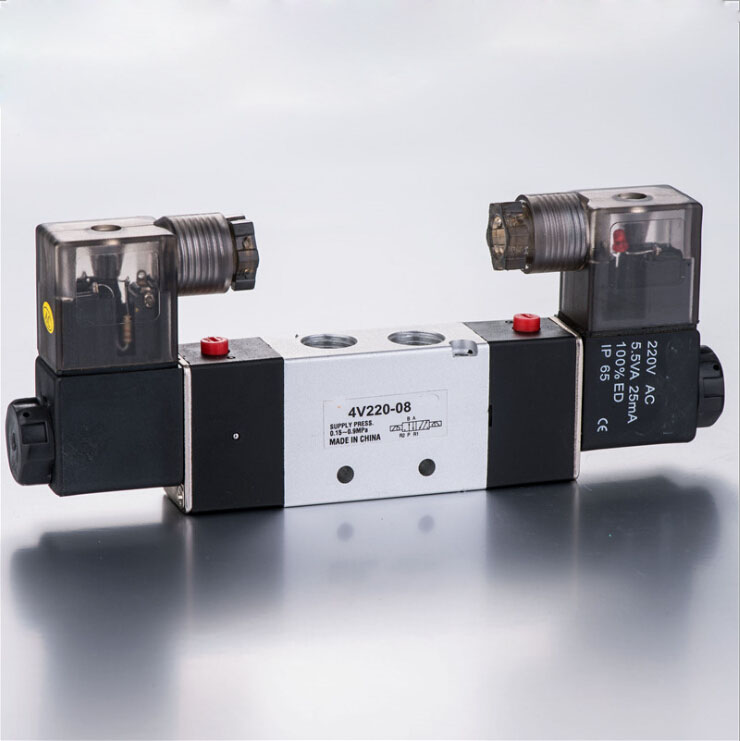 Pneumatic solenoid valve 4V220-08 Double coil Port 1/4 BSP 110V AC 5/2 way control valve with Plug type free shipping air solenoid valve 4v330c 10 double coil 3 8 bsp ac110v 5 3 way control valve plug type with red indicator light