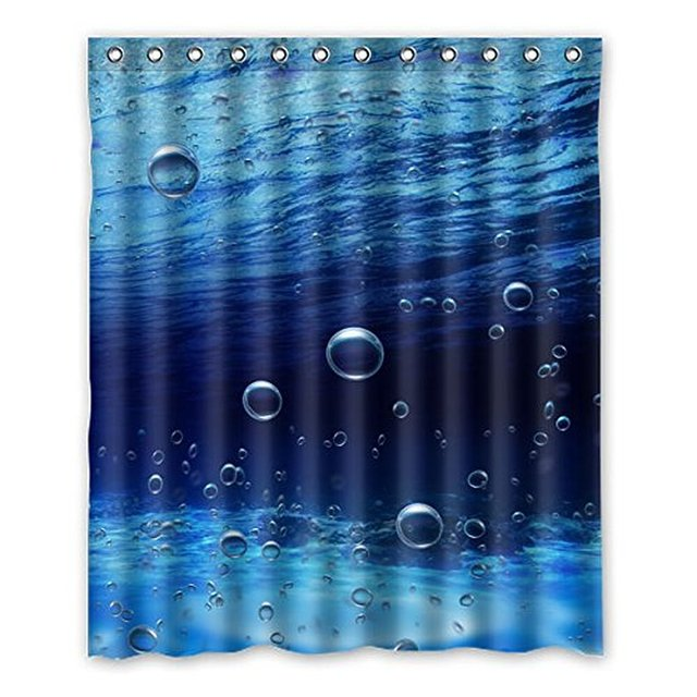 152cm X60 Generic Beautiful Underwater Bubble Curtain Custom Pattern Toilet Polyester Curtains