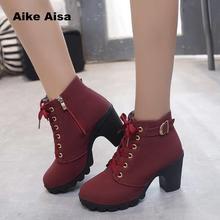 Plus Size 35-43 Winter Casual Women Pumps Warm Ankle Boots Waterproof High Heels