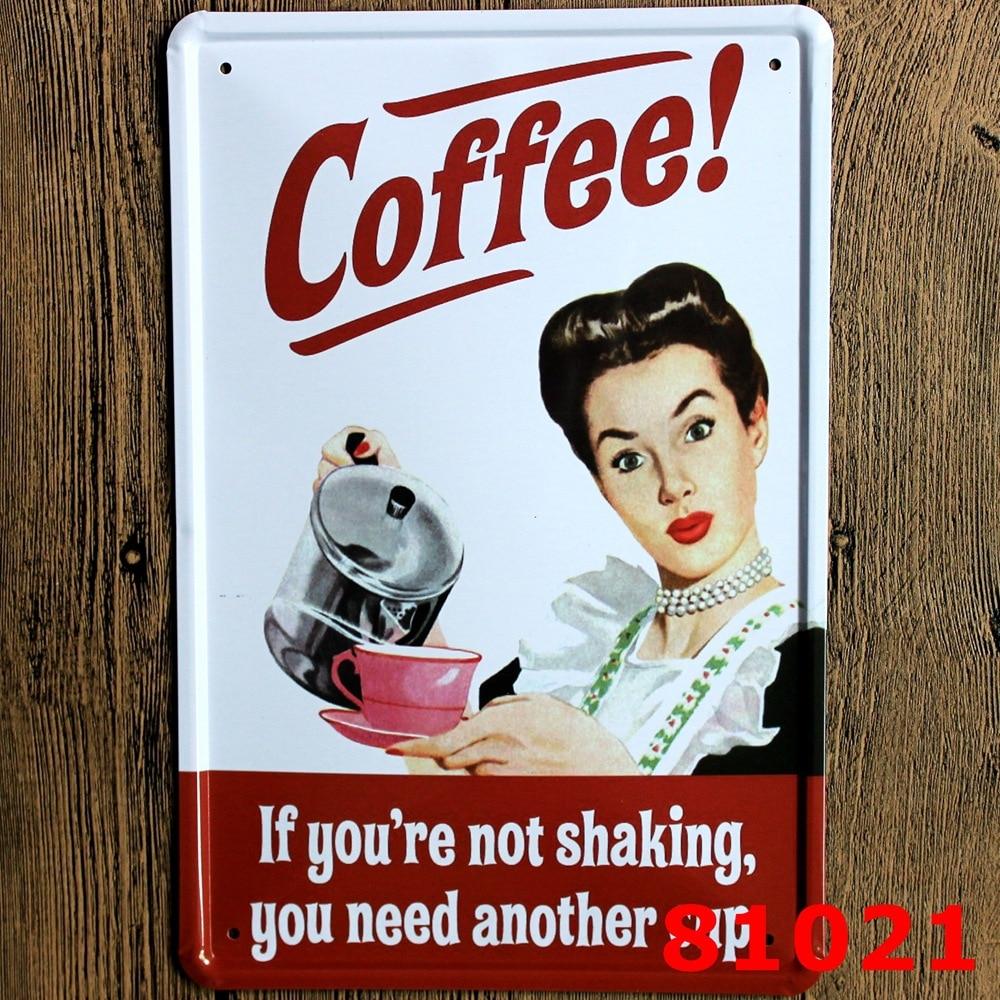 30x20cm pin up coffee girl vintage home decor tin sign for wall decor metal sign vintage art