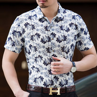 2017 Retro Floral Printed Man Casual Shirts Fashion Classic Men Dress Shirt Breathable Men S Short